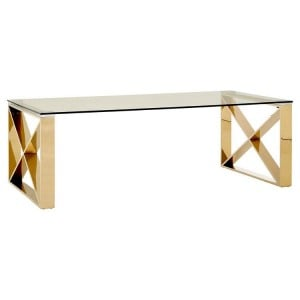 Allure Clear Glass and Champagne Gold Legs Coffee Table