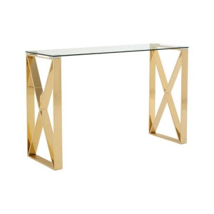 Allure Clear Glass and Gold Metal Console Table