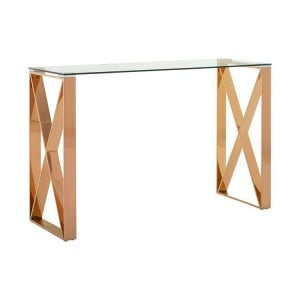Allure Clear Glass and Rose Gold Metal Console Table