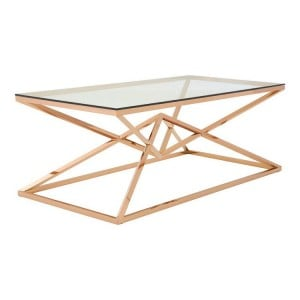 Allure Corseted Rose Gold Metal and Clear Glass Coffee Table