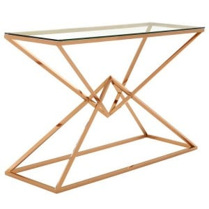 Allure Corseted Rose Gold and Clear Glass Console Table