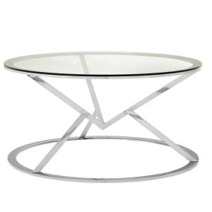Allure Corseted Round Silver and Clear Glass Coffee Table