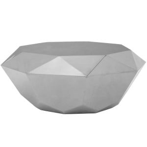 Allure Diamond Cut Silver Stainless Steel Coffee Table