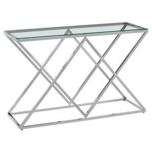 Allure Inverted Triangles Stainless Steel Base and Glass Console Table