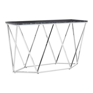 Allure Rectangular Black Marble and Metal Console Table