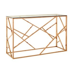 Allure Rose Gold and Clear Glass Geometric Console Table