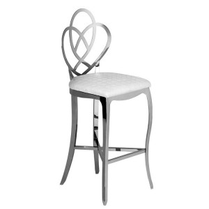 Allure Stainless Steel and White Leather Effect Seat Bar Chair