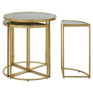 Axis Metal and Mirrored Glass Furniture Round Nesting Tables