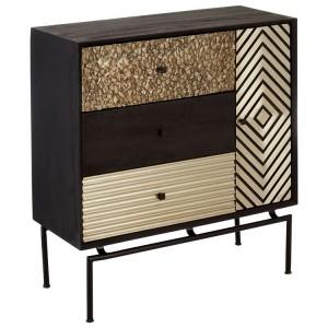 Boho Chic Mango Wood and Metal Furniture 3 Drawer Cabinet