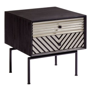 Boho Chic Mango Wood and Metal Furniture 2 Drawer Bedside Table