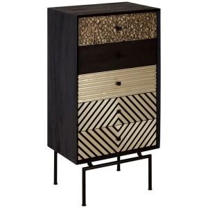 Boho Chic Mango Wood and Metal Furniture 5 Drawer Cabinet