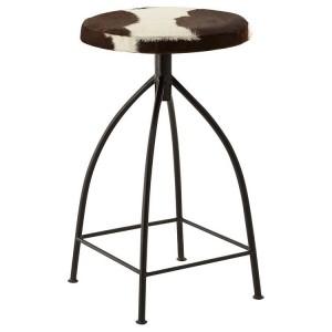 Boho Chic Metal Furniture Brown and White Bar Stool