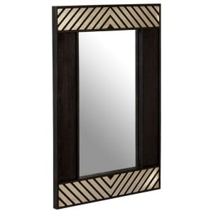 Boho Chic Mango Wood and Metal Furniture Black Wall Mirror