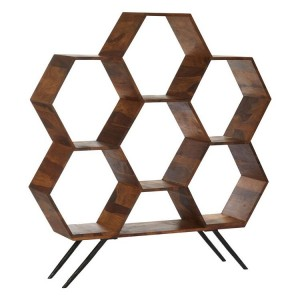 Boho Chic Sheesham Wood and Metal Furniture Hexagonal Bookshelf