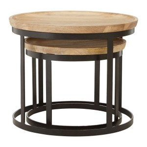 Boho Chic Mango Wood and Metal Furniture Nesting Tables
