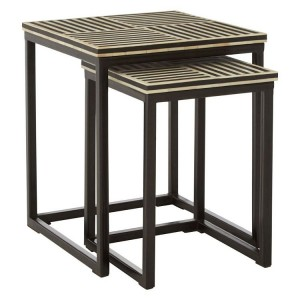 Boho Chic Metal Furniture Set Of 2 Nesting Tables