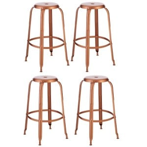 Crest Metal Furniture Copper Finish Iron Bar Stool Set of 4
