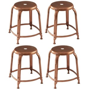 Crest Metal Furniture Copper Finish Metal Bar Stool Set of 4