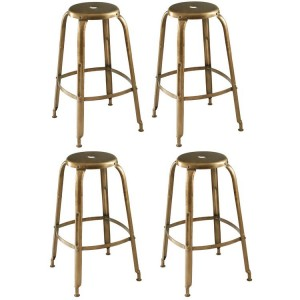 Crest Metal Furniture Gold Finish Iron Bar Stool Set of 4