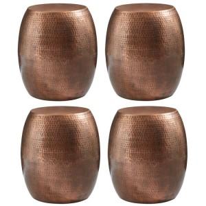Crest Metal Furniture Copper Drum Shape Stool Set of 4