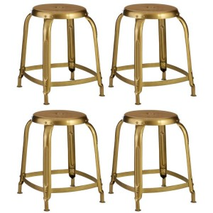 Crest Metal Furniture Gold Finish Metal Bar Stool Set of 4