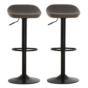 Dalston Vintage Ash Faux Leather and Metal Bar Stool Pair