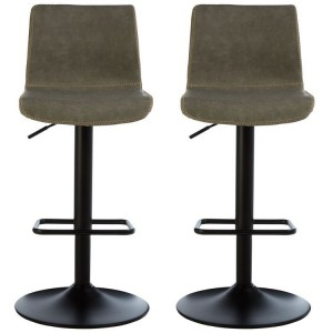 Dalston Vintage Ash Soft Faux Leather Adjustable Bar Stool Pair