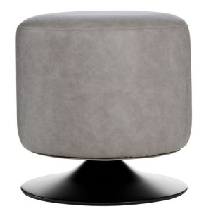 Dalston Vintage Ash Soft Faux Leather Cylinder Footstool
