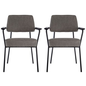 Dalston Vintage Ash Soft Faux Leather and Metal Armchair Pair