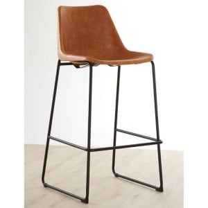 Dalston Vintage Camel Faux Leather and Metal Bar Stool