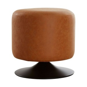 Dalston Vintage Camel Soft Faux Leather Cylinder Footstool