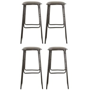 Dalston Vintage Dark Gunmetal Faux Leather and Metal Bar Stool Set of 4