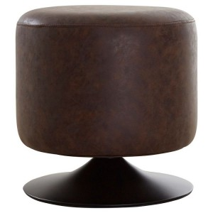 Dalston Vintage Dark Mocha Faux Leather and Metal Cylinder Stool