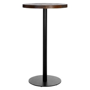 Dalston Vintage Walnut Veneer and Frost Black Metal Bar Table