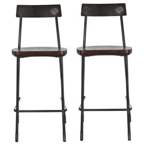 Dalston Vintage Walnut Veneer and Metal Bar Stool Pair