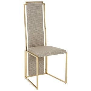 Deana Metal and Glass Furniture Dining Chair in Gold Finish