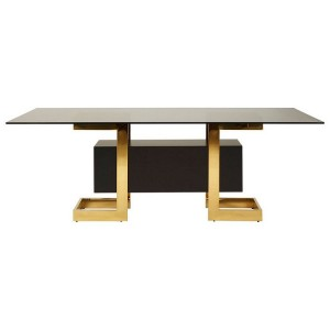 Deana Metal and Glass Furniture Rectangular Dining Table