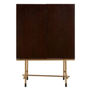Delta Walnut and Metal Furniture 2 Door Wine Cabinet