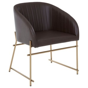 Delta Brown Leather Effect and Metal Dining Chair