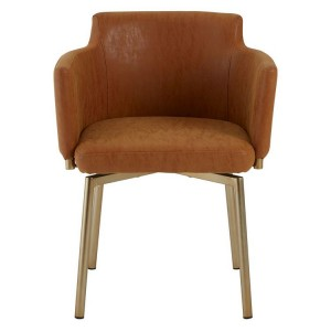 Demas Metal and Glass Furniture Dining Chair in Brown Faux Leather