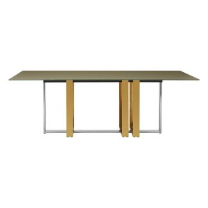Demas Metal and Glass Furniture Rectangular Dining Table