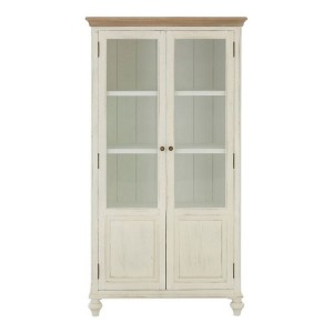 Hendra Weathered White Furniture Glass Cabinet