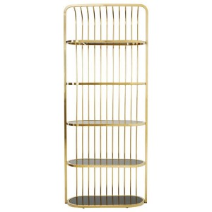 Horizon Black Tempered Glass and Gold Finish Cage Design Bookshelf