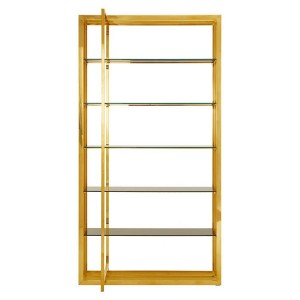 Horizon Black Tempered Glass and Gold Finish Rectangular Bookshelf