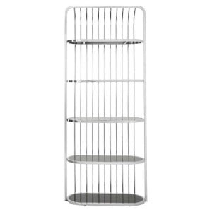 Horizon Black Tempered Glass and Silver Finish Cage Design Bookshelf