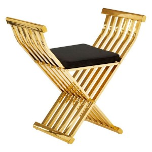 Horizon Gold Metal and Black Velvet Cross Design Occasional Chair