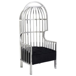 Horizon Silver Metal and Black Velvet Cage Design Occasional Chair