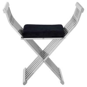 Horizon Silver Metal and Black Velvet Cross Design Occasional Chair