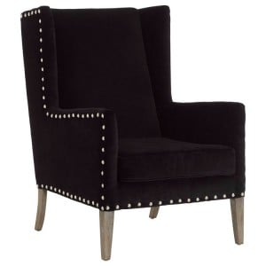 Kensington Townhouse Black Fabric Wingback Armchair