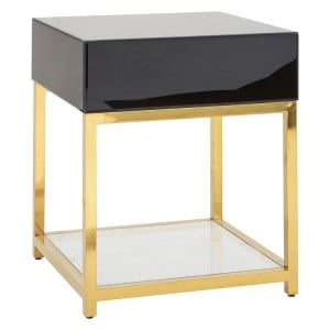 Kensington Townhouse Black High Gloss End Table with Shelf
